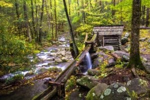 mill on a creek in the smoky mountains