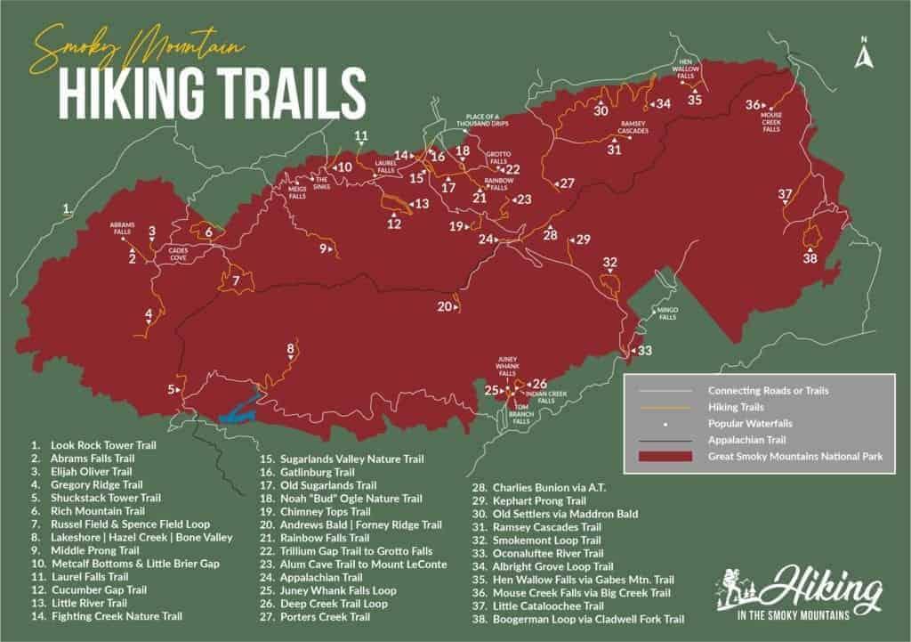 Smoky Mountain hiking trail map